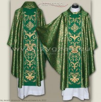 OG8-HM-2 IHS GREEN/GOLD BROCADE GOTHIC CHASUBLE
