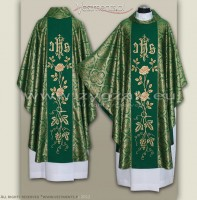 OG-HM-IHS-5 GREEN/GOLD BROCADE GOTHIC CHASUBLE