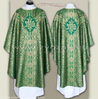 OS-BRO-GT2 GREEN/GOLD BROCADE SEMI-GOTHIC LOW MASS SET