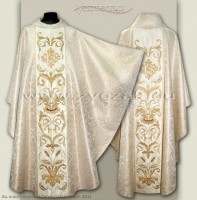 OG8-HM-2 IHS WHITE/GOLD BROCADE GOTHIC CHASUBLE