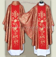 OG-HM-IHS-5 RED/GOLD BROCADE GOTHIC CHASUBLE