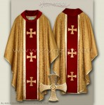 OG-HM-4C BRO - GOLD/RED GOTHIC CHASUBLE