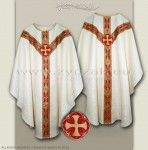 OS-ROZ-GT2  WHITE / ROUND CROSS EMBLEM - SEMIGOTHIC LOW MASS SET