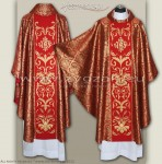 OG8-HM-2 IHS RED/GOLD BROCADE GOTHIC CHASUBLE