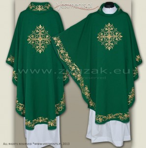 OG-HMS-11 GREEN GOTHIC CHASUBLE