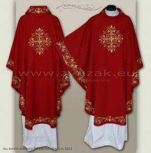 OG-HMS-11 RED GOTHIC CHASUBLE