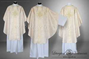 OS-BRO-GT2 WHITE GOLD / WHITE BROCADE SEMI-GOTHIC LOW MASS SET